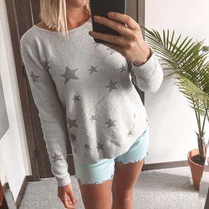Old Navy Lurex Star Classic Grey Sweater sz M